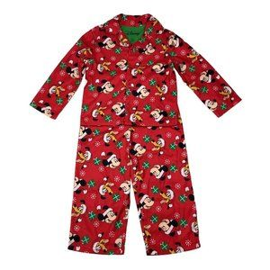 Disney Mickey Mouse Boy Girl 4T Red Green Pajama